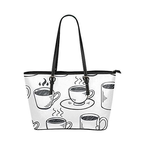 Plsdx Kaffeetasse Tägliches Trinken Versorgung Große Leder Tragbare Top Hand Totes Taschen Kausale Handtaschen Reißverschluss Schulter Einkaufstasche Geldbörse Organizer für Dame Girls Womens