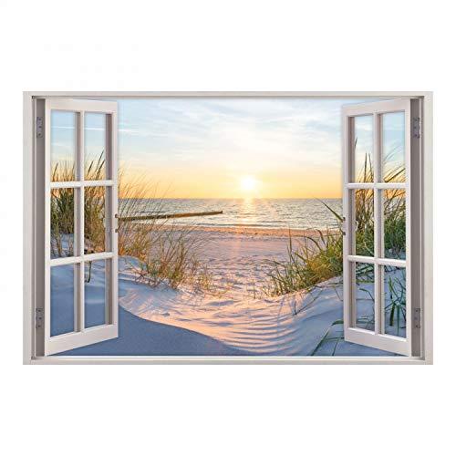 nikima Schönes für Kinder 153 Wandtattoo Fenster - Ostseestrand Maritim - in 5 Größen - Sonnenuntergang Wandbild Wanddeko -Größe 1000 x 670 mm
