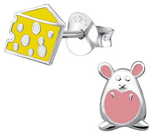 FaithOwl - Pendientes de tuerca (plata de ley 925), diseño de ratón y queso, color negro