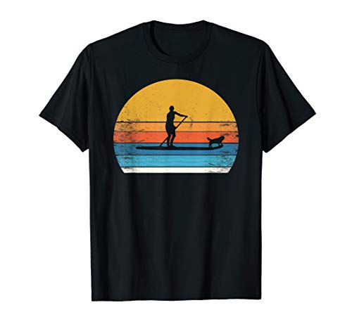 Tolles SUP Stand up Paddling mit Hund t shirt Paddle paddel T-Shirt