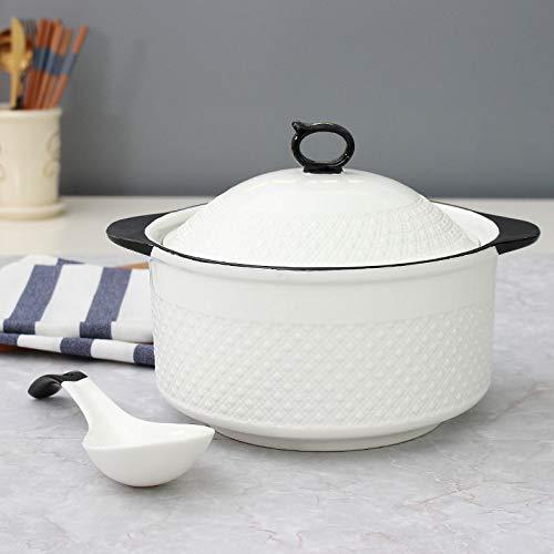 Gran tazón de sopa hogar con tapa olla de sopa creativa vajilla de cerámica doble orejas anti escaldado sopa grande olla sopa microondas sopa tazón (A)