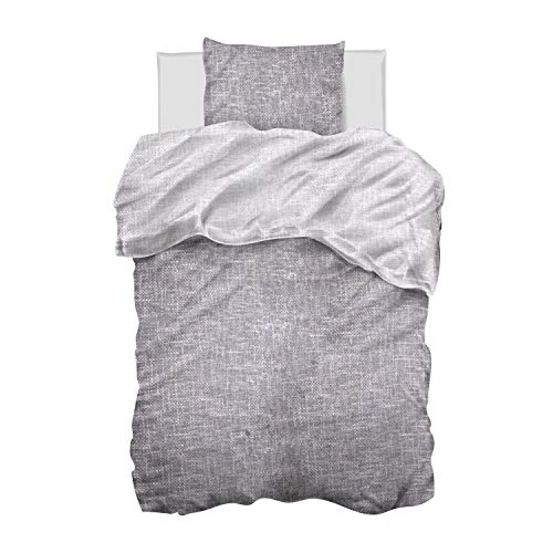 Aminata-Home Bettwäsche Uni 135 x 200 unifarben Baumwolle mit Reißverschluss, Uni-Motiv, einfarbig grau, weich und kuschelig - einfarbige Wende-Bettwäsche-Set für Paare, Partner, Mann und Frau