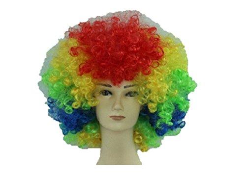 Parrucca da Clown per Uomini e Donne Unisex Circo Divertente Festa in Maschera Afro Stag Do Joker Party (Arcobaleno / Multicolore)