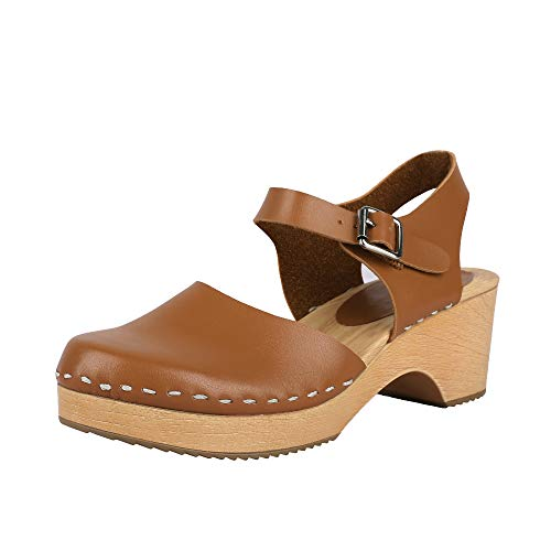 LAICIGO Women's Wood Clog Heeled Sandals Chunky Closed Toe Ankle Strap Buckle Slingback Studded Booties (7 M US, 1-Brown)
