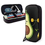 Lindo feliz sonriente plátano aguacate haciendo ejercicios PU cuero caja de lápices bolsa de pluma, caja de pluma de doble cremallera de alta capacidad