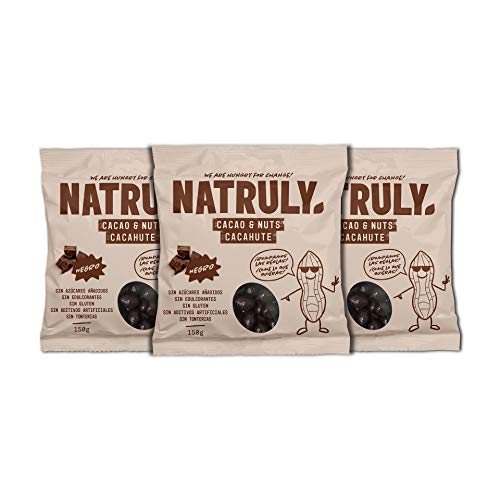 Natruly Cacao&Nuts Cacahuetes con Chocolate sin Azúcar y sin Edulcorantes, Sin Gluten, Chocolate Negro sin Azúcar – Pack 3x150 gr