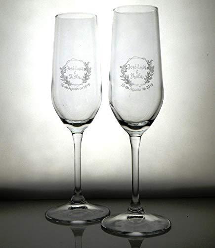 Arte-Deco Copas de Cava para Boda, Aniversario Y Celebraciones. Regalo Elegante y...