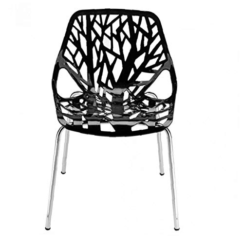 Yililay Bird's Nest Style Lounge Chair, 4pcs Black Dining Chair Industrial Vintage Chairs Dendritic Pattern Backrest Seat Bistro Kitchen Cafe Chairs.