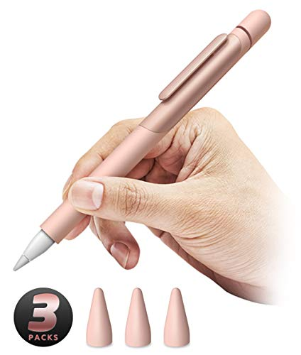 SUPCASE Silicone Protective Case for Apple Pencil (1st Generation), Anti-Slip Grip with Nib Cover (3 Pieces) Accessories (Rosegold)
