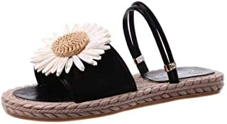 B/H Sandales Natation Homme,Pantoufles Plates Marguerite d'été, Confortables Sandales antidérapantes pour la Maison-Noir_3...