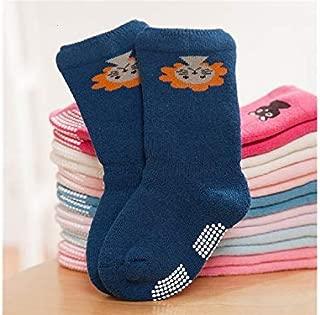 Lovely Socks 6 Pairs Children Cotton Socks Kids Autumn and Winter Cartoon Animals Anti-Slip Terry Mid Tube Socks (Light Blue) Newborn Sock (Color : Blue)