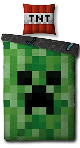 Character World Wende Bettwäsche-Set Minecraft, Biber/Flanell, 135x200cm + 80x80cm, 100% Baumwolle, Motiv Craft Blöcke
