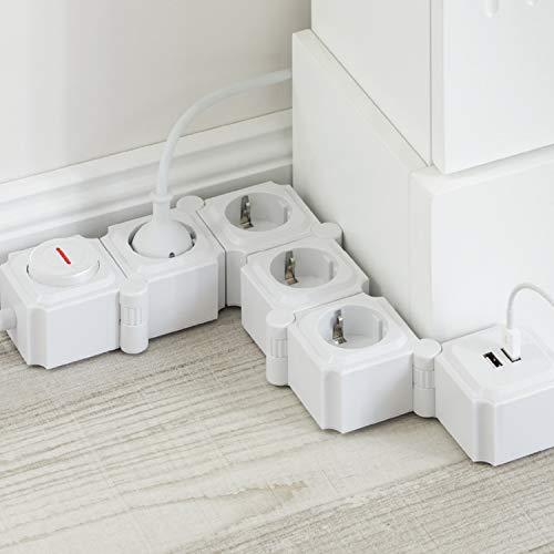 UCOMEN Power Strip, 4 Fach Steckdosenleiste, Steckdose mit 2 USB, Tischsteckdose mit Schalter, Mehrfachsteckdose mit überspannschutz, 3680W, Verformbar Würfel, Weiß