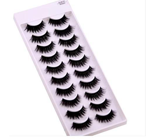 ZZDJ Faux Cils Maquillage 10 Paires de Cils 3D Faits à la Main Courts Faux Cils Cross Messy Dense Natural Eye Lashes Stage Makeup Faux Cils Q