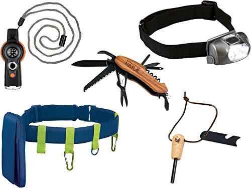 5er Expedition-Natur Geschenk-Set | Survival-Tool 6-in-1 + Taschenmesser mit Holzgriff + Outdoor-Gürtel + LED-Kopflampe + Feuerstarter-Set