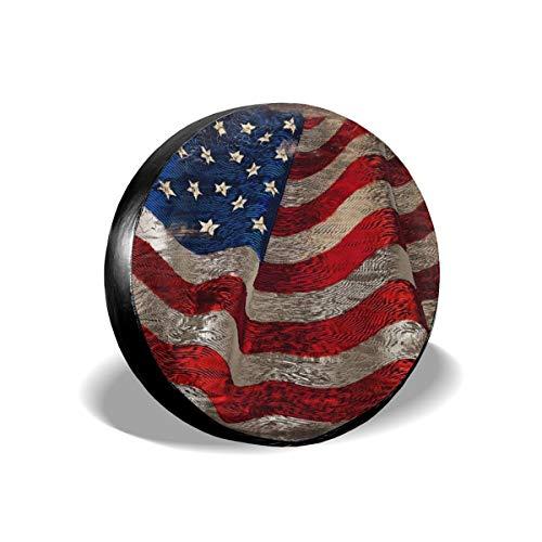Cubierta de repuesto de madera de la bandera americana, impermeable, a prueba de polvo, UV, cubierta de neumático para Jeep, remolque, RV, SUV y muchos vehículos de 17 pulgadas