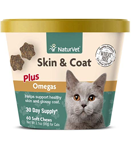 NaturVet – Skin & Coat Plus Omegas for Cats – 60 Soft Chews – Supports Healthy Skin & Glossy Coat – Enhanced with Omega-3, Omega-6 & Biotin – 30 Day Supply