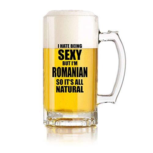 Jarra de cerveza de vidrio para restaurante, juego de pelota, jarra de cerveza, odio ser sexy, pero soy rumana divertida, regalo de cumpleaños perfecto para hombres y mujeres, 16 oz