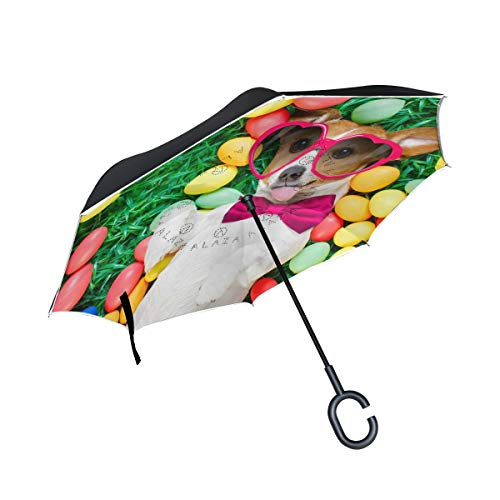 senya Double Layer Inverted Umbrella Funny Jack Russell Easter Bunny Reverse Folding Umbrella C Shape Handle Car Travel Golf Umbrella