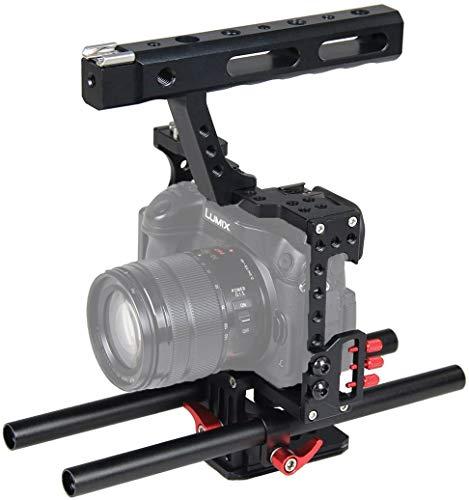 Funey Cámara Video Jaula Estabilizador de mano de aleación de aluminio Estabilizador Estabilizador de mano para cámara estacionaria, 15 mm, para Panasonic G7 Lumix GH4 GH3 FZ2500 / Sony A7000 A6300