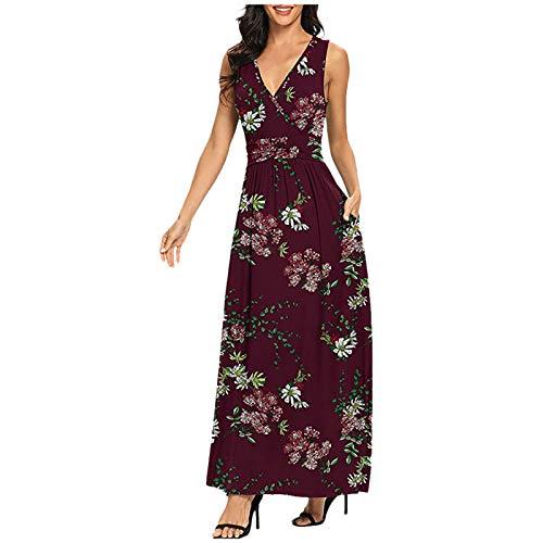 CANTOB Women Dress V-Neck Sleeveless Solid Slim Long Dress Summer Casual Beach Dress Midi Dress Cocktail Dress(A5-Wine,2XL)