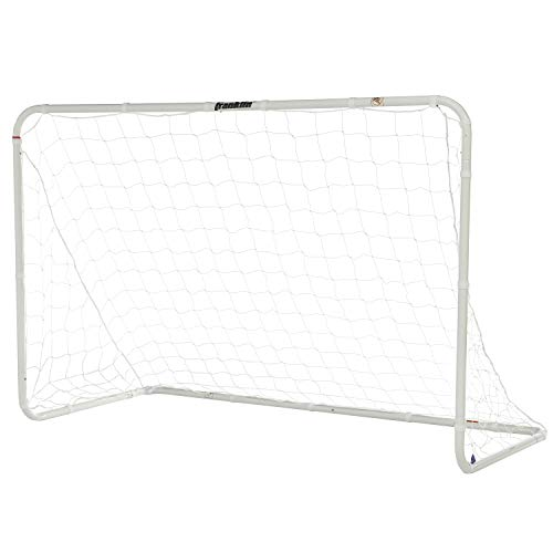 Franklin Sports Competition Soccer Goal - Steel Backyard Soccer Goal with All Weather Net - Includes 6 Ground Stakes - 6'x4' Soccer Goal - Silver