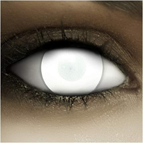 Farbige Kontaktlinsen ohne Stärke Dead Zombie + Kunstblut Kapseln + Kontaktlinsenbehälter, weich ohne Sehstaerke in weiß, 1 Paar Linsen (2 Stück), ACHTUNG: Nur 60% Sehvermögen