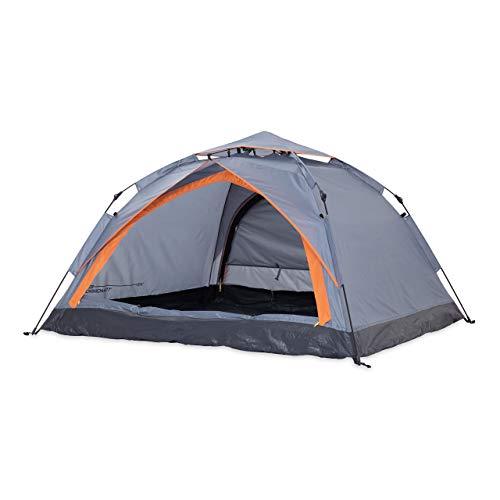 Lumaland Where Tomorrow Pop Up Zelt - 3-Personen-Zelt mit Doppeltür - Wurfzelt Trekkingzelt - 210x190x110 cm - Camping Festival - Ultraleicht, wasserdicht, robust - Grau
