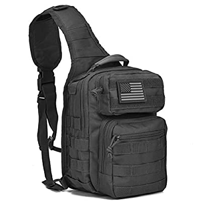 Tactical Sling Bag Pack Military Rover Shoulder Sling Backpack Molle Assault Range Bag Everyday Carry Diaper Bag Day Pack Black Small