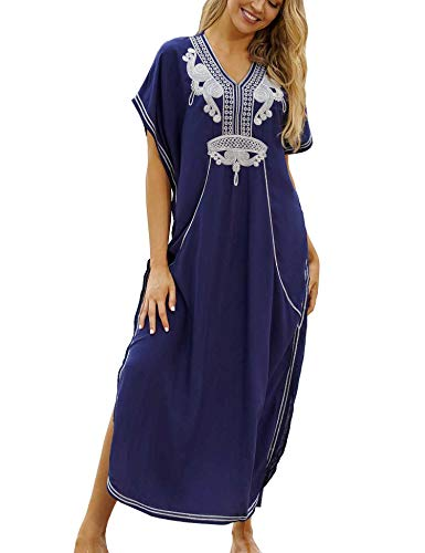 Orshoy Damen Kaftan Langes Kleid Strandkleid Pareos Bikini Cover ups Boho Kimono Lang Strand Cardigan Leichte Strickjacke One Size B01 Navy...