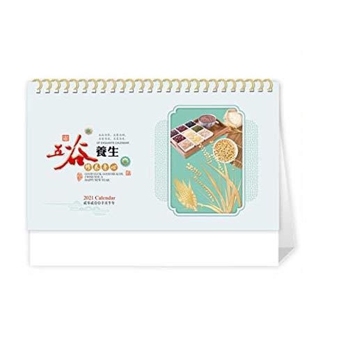 Calendarios sobre Escritorio 2021 Chinos Año Nuevo 2021 Calendario Mensual Sobremesa para el Año Lunar del Buey,24.5x8x17.5cm,Tema de Salud Chino Calendario Dohe 2021 para El Año Chino del Buey