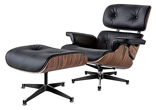 RAZIGI Vardagsstol med ottoman, fåtölj liggstol med äkta läder modern schäslong för sovrum vardagsrum kontor (färg: svart)