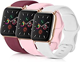 Pack 3 Compatible with Apple iWatch Bands 44mm Series 4, Soft Silicone Band Compatible iWatch Series 4, Series 3, Series...