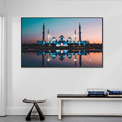 PCCASEWIND Moderne Islamische Moschee Gebäude Plakate Und Drucke Muslimische Wandkunst Leinwandbilder Bilder Wohnzimmer Home Decor (50X70Cm Ohne Rahmen) Ad-2536