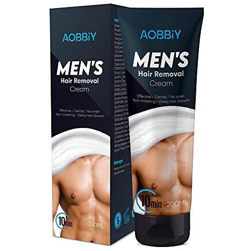 AOBBIY Men's Hair Removal Cream, Depilatory Cream For Men - Gentle yet Fast-Working, Fragrance-Free, Non-Irritating for All Skin Types, 100ML