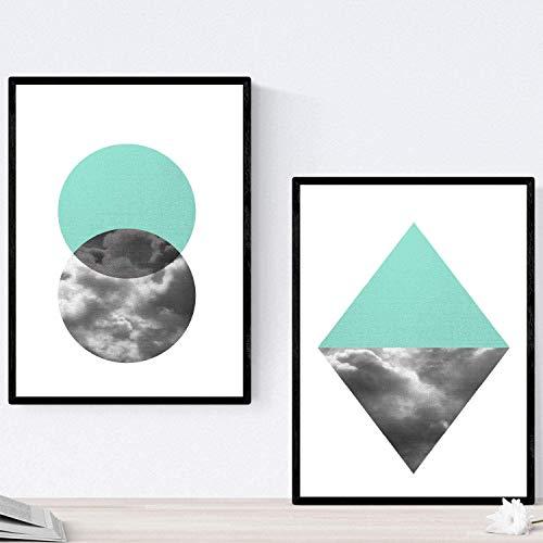 Set de 2 láminas para enmarcar REFLEJO . Posters estilo nórdico con imágenes reflejadas. Tamaño A4. Láminas con imágenes geométricas en estilo escandinavo