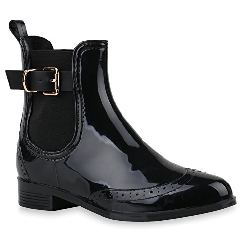 Damen Stiefeletten Chelsea Boots Lack Damen Muster Animal Print Blockabsatz Schuhe 143173 Schwarz...