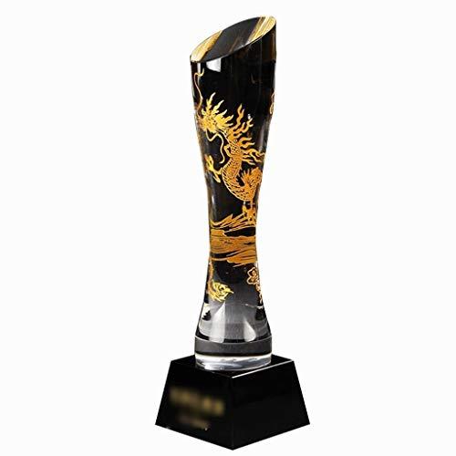 Trofei, medaglie e premi Totem Award Coppa di Cristallo Personalizzati Drago Retro Stile Cinese Drago Black Gold Base (Color : Clear, Size : 8 * 8 * 27cm)