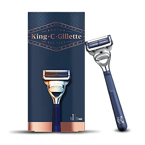 King C. Gillette Rasoio per il Collo da Uomo + 1 Lametta con Ottime e Affilate Lame di Gillette in Acciaio Inossidabile