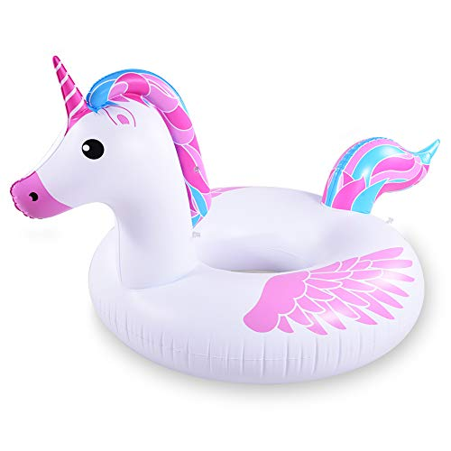 HIWENA Inflatable Unicorn Pool Float Tube for Party Decorations, Unicorn Inflatable Raft Pool Toys, 67 Inches Giant Pool Float for Adults and Kids
