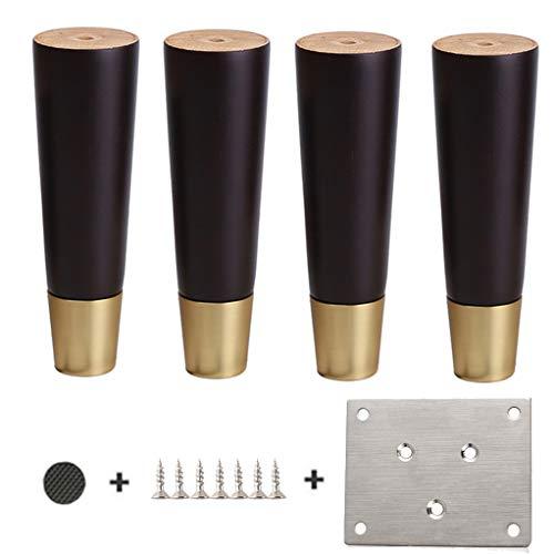 YuBao houten meubelpoten vervanging bank benen Pack van 4, ronde taps toelopende afwerking, voor bank voeten kist van lades kabinet DIY meubelproject