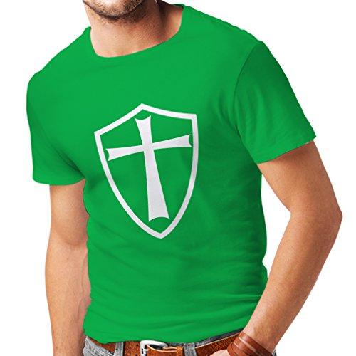 lepni.me Camisetas Hombre Caballeros templarios, Soldados de Cristo, Escudo Cruzado (X-Large Verde Blanco)