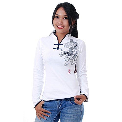 Damen Asia China Yoga,Tai Chi & Meditations Shirt Baumwolle Weiß M
