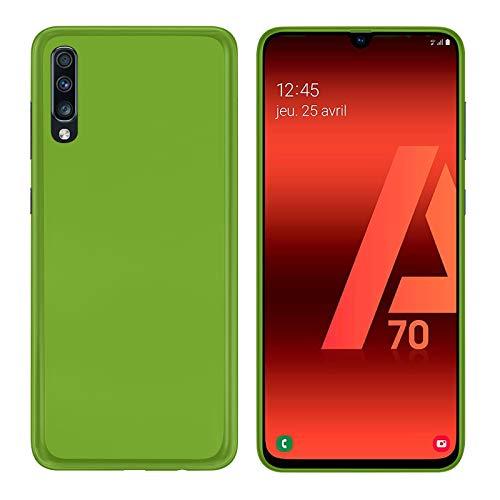 TBOC Funda de Gel TPU Verde para Samsung Galaxy A70 A705FD [6.7 Pulgadas] Carcasa de Silicona Ultrafina y Flexible para Teléfono Móvil