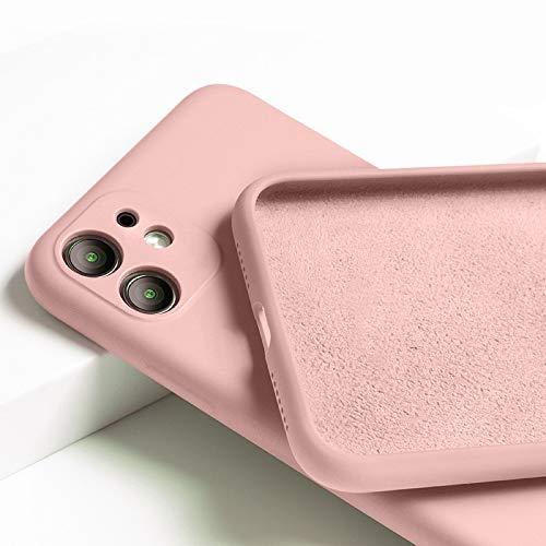 OWM Funda iPhone 11 de Silicona líquida [con Protector de cámaras] Carcasa Protectora de Goma antigolpes con Interior de Microfibra Suave para iPhone 11 (2019) - Rosa