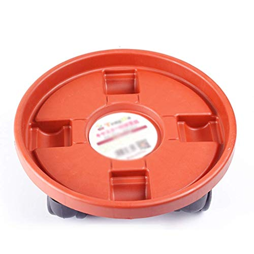 Pot Saucer Flower pot tray universal wheel household resin red round thickened plastic water moving mobile flower pot base with roller Garden Saucers