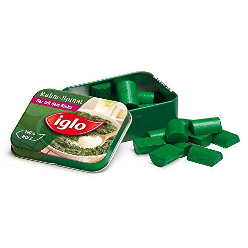 5 Stück Erzi Spinat von Iglo in der Dose, Spielzeug-Spinat, Kaufladenzubehör