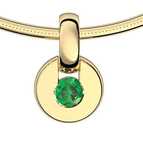 Goldkette Anhänger Smaragd 585 + inkl. Luxusetui + Smaragd Kette Gold Smaragdkette Anhänger Gold Halskette (Gelbgold 585) - Centrical Amoonic Schmuck Länge 45cm TS10 GG585SMFA45