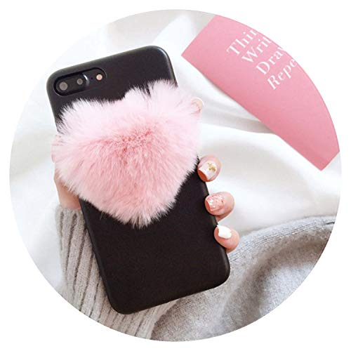 Fashion 3D Love Heart Fur Ball Phone Cases for iPhone 7 case Luxury Soft Leather Cover for iPhone 7Plus 6 6S, for iPhone 7, 2