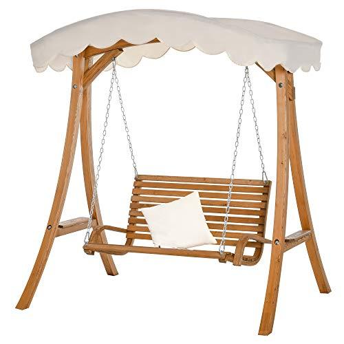 Outsunny Hollywoodschaukel, 2-Sitzer Gartenschaukel, Schaukelbank mit Sonnendach, Lärchenholz, Cremeweiß, 170 x 135 x 170 cm